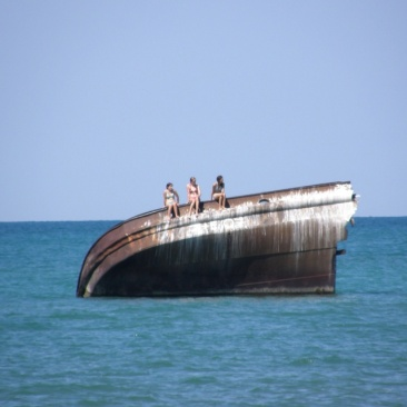 The embedded hulk of a laker just off the shore of Bayfield, Ontario - Lake Huron